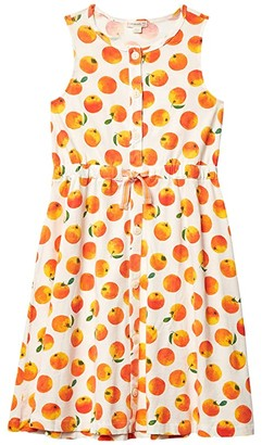 crewcuts by J.Crew Ruby Button Dress (Toddler/Little Kids/Big Kids) (Ivory/Orange) Girl's Clothing