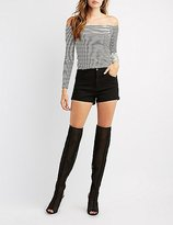 Charlotte Russe Mesh Peep Toe Over-The-Knee Boots