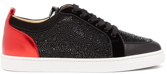 Christian Louboutin Rantulow Crystal-embellished Leather Trainers - Black