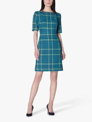 LK Bennett Aimee Wool Blend Check Tweed Mini Dress, Turquoise/Multi