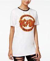 Hybrid Juniors' AC/DC Graphic Ringer Tunic T-Shirt