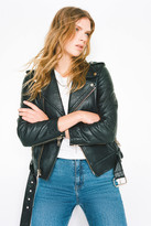 Bagatelle Leather Belted Moto Jacket