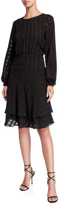 DKNY Tiered Fit-&-Flare Pleated Dress