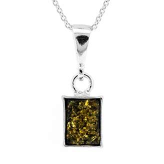 Nova Silver Green Amber Rectangle Shape Cognac Amber Pendant on 18 inch (46cm) Sterling Silver Chain in presentation box