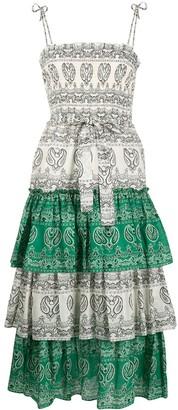 Tory Burch Paisley-Print Smocked Midi Dress