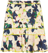 Surf floral-print stretch-scuba mini skirt