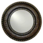 Arthouse Brown Studded 22-Inch Round Wall Mirror