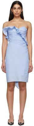 ALEXACHUNG Blue Ruched Dress