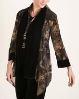 Travelers Collection Goldtone Printed Velvet Jacket
