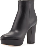 Gianvito Rossi Leather Platform Ankle Boot, Black