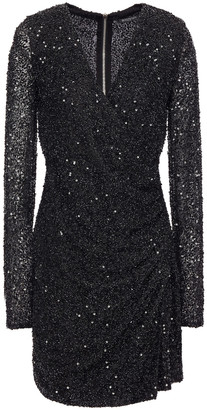 Balmain Wrap-effect Embellished Knitted Mini Dress