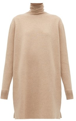 Jil Sander Side-slit Wool-blend Roll-neck Tunic - Womens - Light Grey