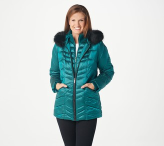 Dennis Basso Water Resistant Hooded Puffer with Faux Fur Trim