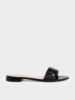 Charles & Keith Buckle Strap Glitter Slide Sandals