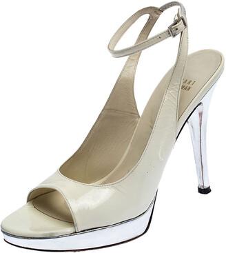 Stuart Weitzman White/Silver Patent Leather Open Toe Ankle Strap Platform Sandals Size 39.5