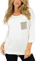 Cream Pocket Three-Quarter Sleeve Tunic