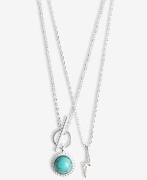 "Lucky Brand Silver-Tone 2-Pc. Set Reconstituted Turquoise & Pave Bolt Pendant Necklaces, 17"" + 2"" extender"