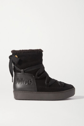 See by Chloe Leather-trimmed Suede And Shearling Ankle Boots - Black