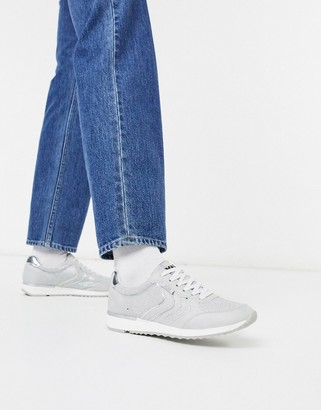 Xti lace up runner sneakers in ice