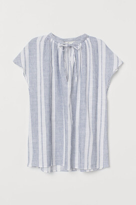 H&M Tie-collar Cotton Blouse - Blue