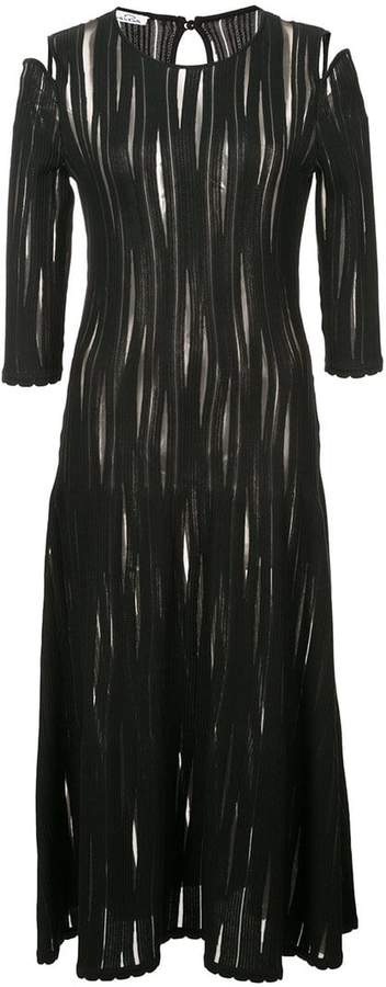 Oscar de la Renta cold-shoulder sheer plissé dress