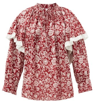 See by Chloe Floral-print Cotton-voile Blouse - Red White