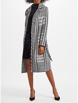 Marc Cain Belted Boucle Blanket Coat, Black/White