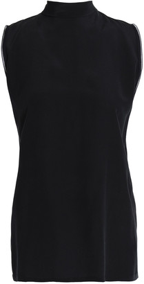 Amanda Wakeley Bow-detailed Silk Crepe De Chine Top