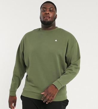 Asos Design DESIGN Plus oversized sweatshirt in khaki with triangle-Green
