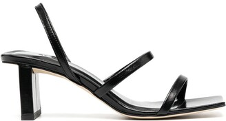BY FAR Square Toe Crossover Strap Sandals