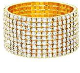 Sparkling Nine Line Clear Rhinestone Crystal Gold Stretch Bracelet Affordable Wedding Jewelry