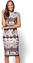 New York & Co. Cap-Sleeve Sheath Dress - Multi Print