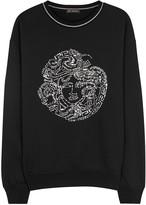 Versace Black Embellished Cotton Sweatshirt