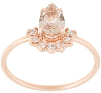 Natalie Marie 14kt rose gold rutilated quartz and diamond ring