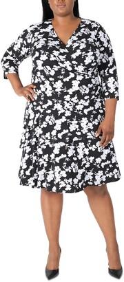 Robbie Bee Plus Size Surplice Tiered Dress