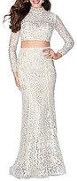Abbi Vonn by La Femme Mock Neck Long-Sleeve Lace Two-Piece Long Dress