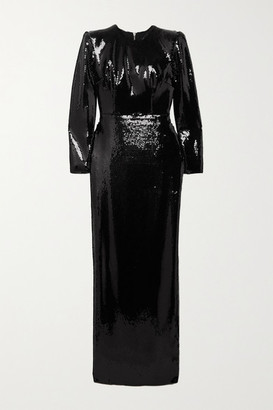 Alex Perry Hutton Sequined Satin Gown - Black