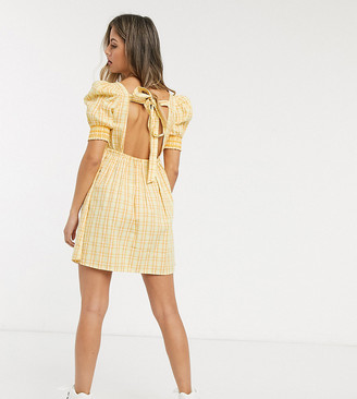 Reclaimed Vintage inspired mini smock dress in yellow check