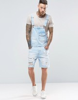 Asos Short Overalls In Bleach Wash With Rips