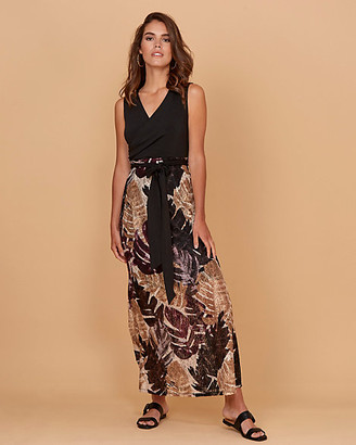 Le Château Leaf Print Lace Maxi Dress