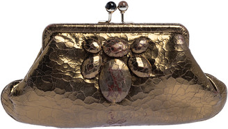 Anya Hindmarch Metallic Gold Ceramic Effect Leather Kiss Lock Clutch