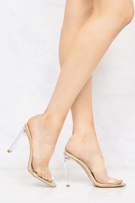 Miss Diva Highlight Perspex Band Flare Heel Mule in Nude