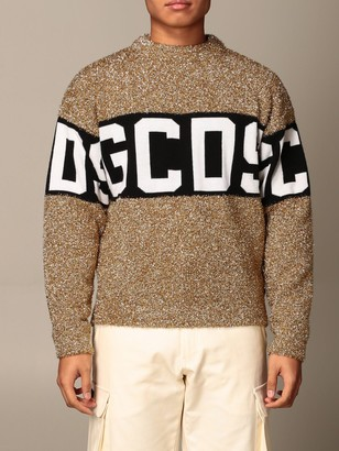 GCDS Pullover In Lurex Wool Blend With Logo