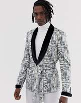 Asos Edition ASOS EDITION skinny blazer jacket with all over monochrome print and velvet collar