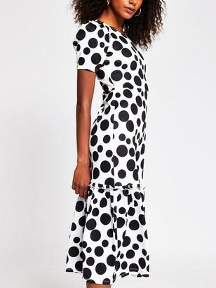River Island Polka Dot Tiered Jersey Midi Dress - Spot Print
