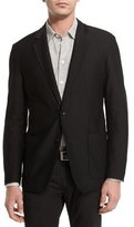 Armani Collezioni Textured Two-Button Jacket, Black