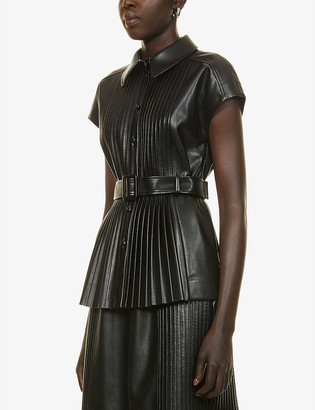 Huishan Zhang Rowan pleated faux-leather shirt