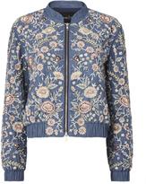 Needle & Thread Sundaze Embroidered Denim Bomber Jacket