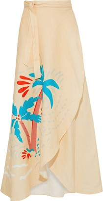 Onia Amanda Printed Linen-gauze Midi Wrap Skirt
