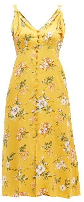 Rebecca Taylor Lita Floral Print Silk Blend Dress - Womens - Yellow Multi